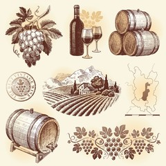 Hand drawn vector set - wine and winemaking