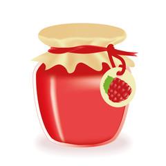 Jar of raspberry jam isolated
