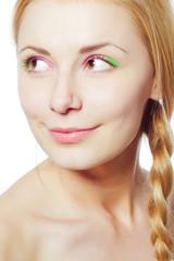 Beautiful girl close up portrait. Bright make-up