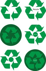 Design elements of green recycle arrows