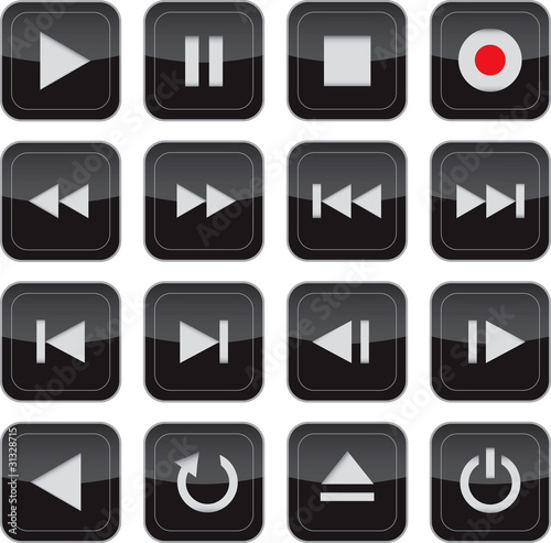 Multimedia control glossy icon set for web, applications, electr