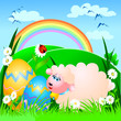 Easter background with sheep