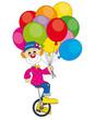 Payaso en bicicleta con mucho globos