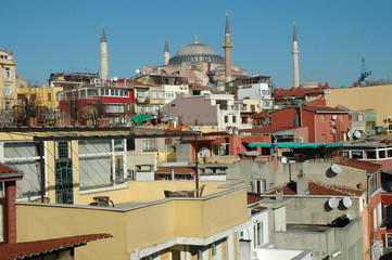 Istanbul houses, Hagia Sofia in background