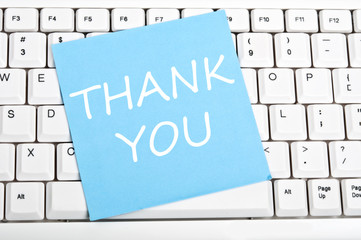 Thank you note on keyboard
