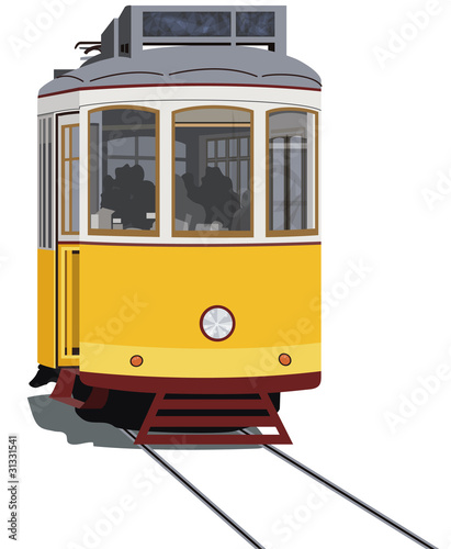 Lisbon tramway, isolated in white, vector