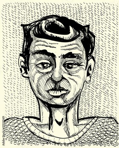 young man portrait - monochrome illustration - 31332569