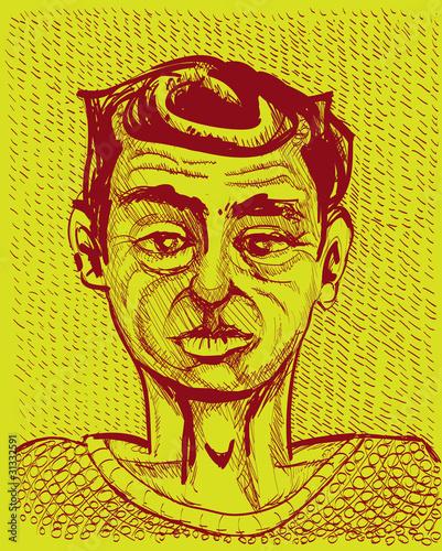 young man portrait - monochrome illustration - 31332591