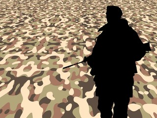 Soldier on perspective camouflage