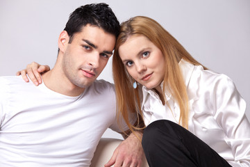 relaxed couple watching TV