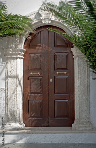 Beautuful wooden door with palm branches in Italy