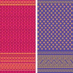 Indian Sari textile design, elaborate and easily editable