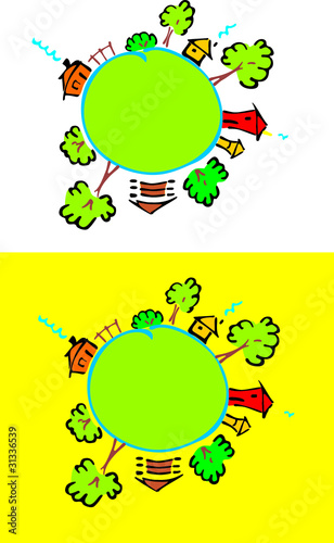 Stilyzeh vector happy houses standing on the globe