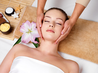 Massage for the skin on face in beauty salon