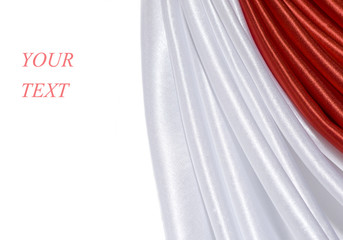 Red And White Satin Border Isolated on white