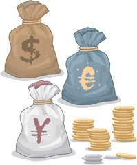 Moneybags with Different Currency
