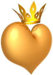 Golden heart shape with a king crown. Luxury valentine concept