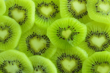 Slicing of juicy kiwi