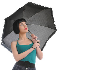 beautiful woman with black umbrella