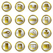 Electrical appliances gold icons set