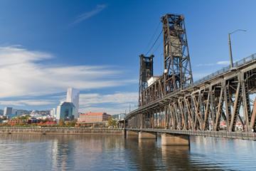 Portland steel bridge and Downtown