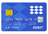 Bank debit card mock up isolated on white. poster