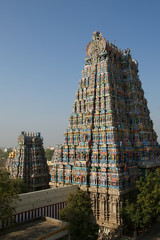 Meenakshi hindu temple in Madurai, Tamil Nadu, South India. Scul