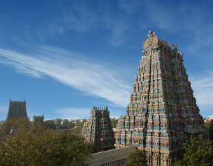 Meenakshi hindu temple in Madurai, Tamil Nadu, South India. Scul