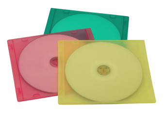 CD in colourful cases isolated on white