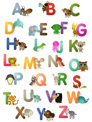 A-Z english, animals, colorful letters