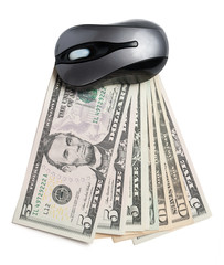 Money and pc mouse on white