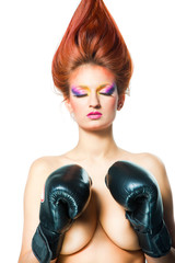 girl with boxing gloves on isolated white