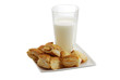 Plate of fresh baked bourekas  with glass of milk