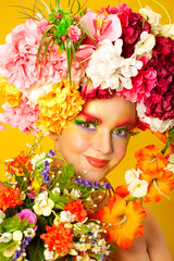 Flower Girl. Beautiful young girl wearing flower wreath