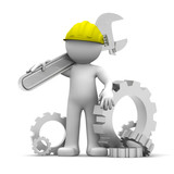 Fototapety Industrial worker with wrench and gears. Conceptual illustration