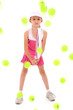 Girl Child Tennis Player Pelted with Tennis Balls