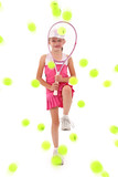 Girl Pelted with Tennis Balls poster
