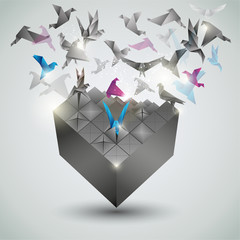 Metamorphosis.Cube is transforming into a flock of birds.