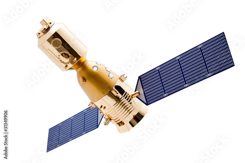 Spacecraft on white background with clipping path