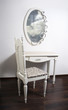 White Table, chair, mirror in ancient, modernist style