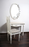 White Table, chair, mirror in ancient, modernist style poster