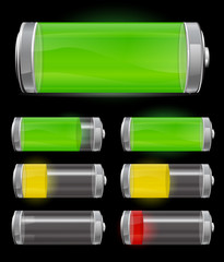 battery with different levels of charging