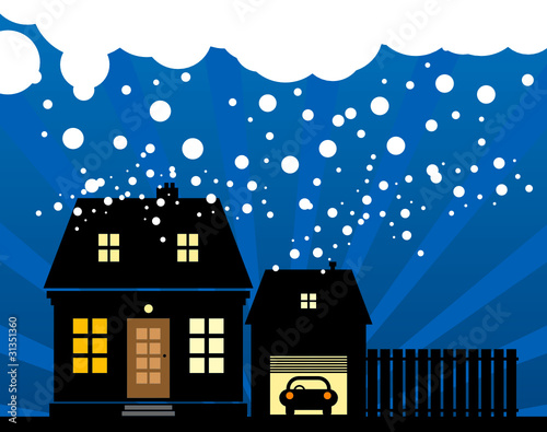 A small cottage in the snow, vector illustration