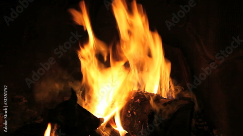 Fireplace with hot flames