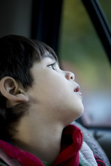 Four year old boy looking quietly out car window