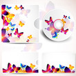 Cover design template of disk and business card. Butterfly desig