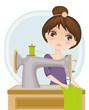 vector illustration of a dressmaker at work