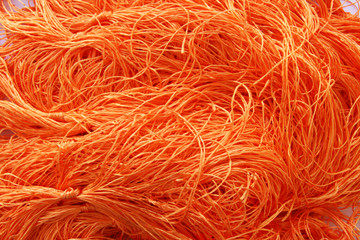 Orange colorful embroidery yarns (Floss)