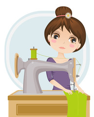 vector illustration of a dressmaker at work