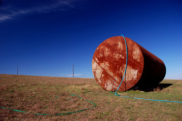 rusting tank object in Bessarabia steppe